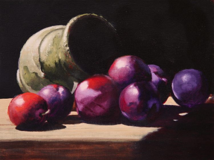 Plums | 9x12 inches | oil on canvas panel