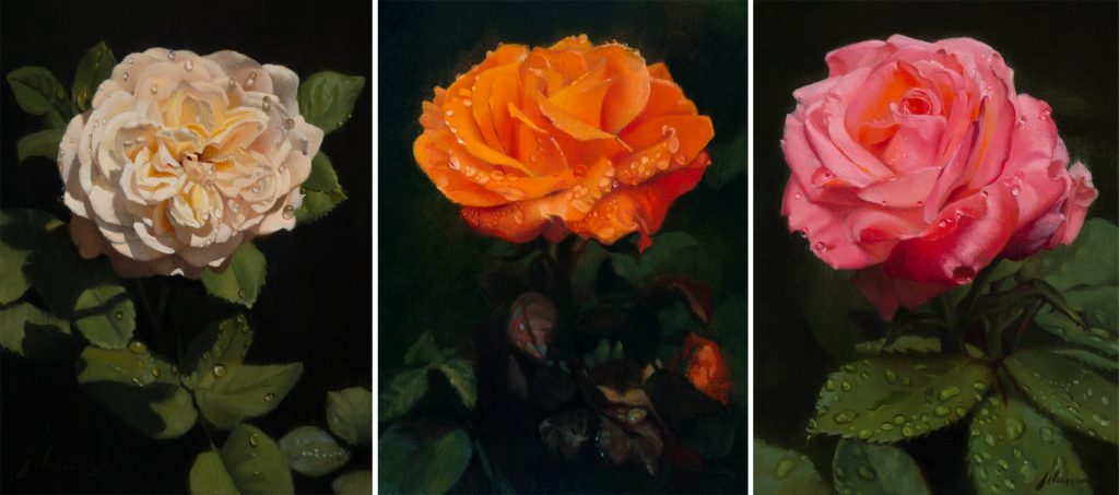 Rose Triptych - each panel is 12x9 inches. oil on panel